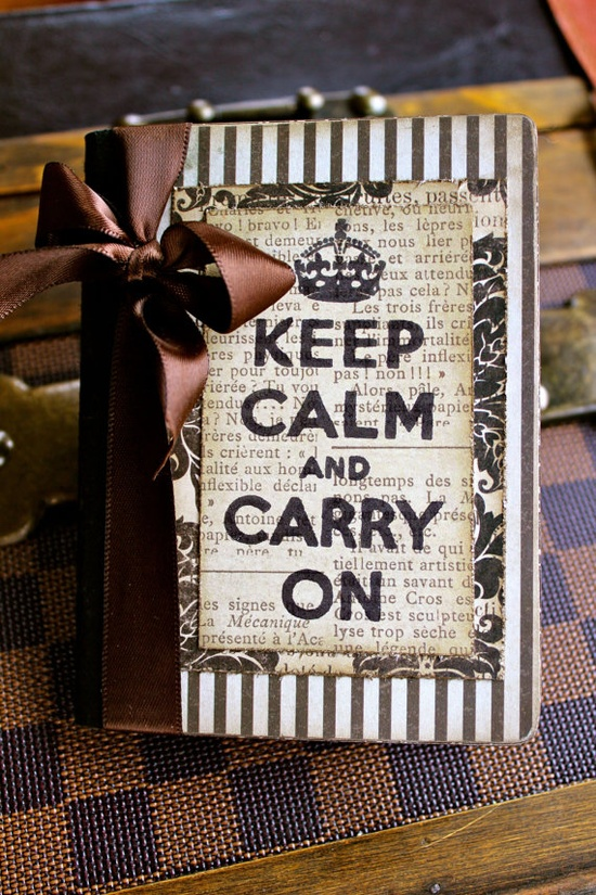 Etsy altered mini composition journal. Keep Calm and Carry On. #etsy #keep_calm #scrapbook #journal #altered