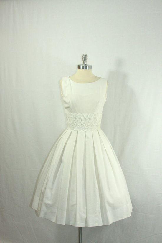 1950's Vintage Wedding Dress  Wonderful White Cotton Blend  by VintageFrocksOfFancy