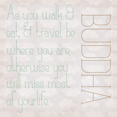 As you walk & eat & travel be where you are, otherwise you will miss most of your life. ~ Buddha