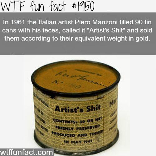 "Italian Artist piero Manzoni ""Artist's Shit"" -WTF fun facts"