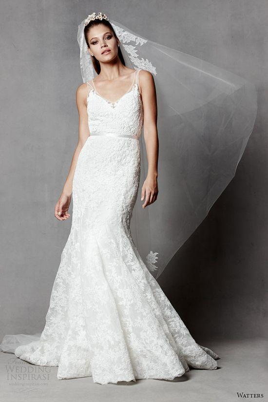 watters brides 2014 sleeveless wedding dress illusion straps style 5017B