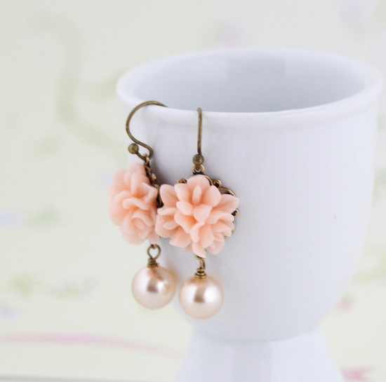 Flower Earrings - Peach Flower Earrings - Sweet Floral Earrings - Matching Necklace, Mothers Day Gift Idea.