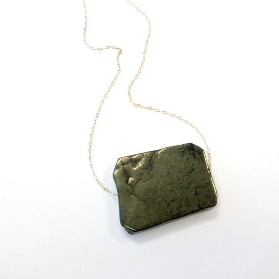 Pyrite Necklace Yellow Gold Jewelry Natural by jewelrybycarmal, $24.00