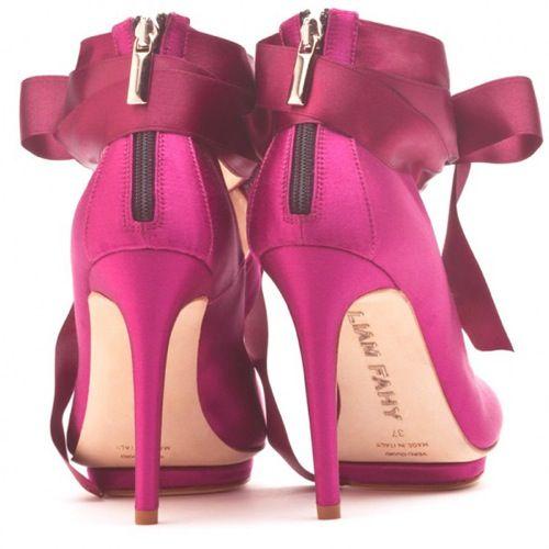 magenta stilettos with satin bow ankle strap
