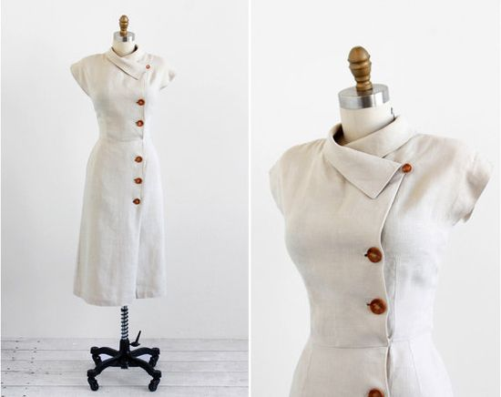 vintage 1940s dress / 40s dress / Natural Linen by RococoVintage, $268.00