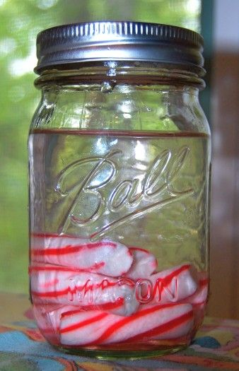 DIY candy cane vodka.  Add hot chocolate to warm up on a cold, wintery day.