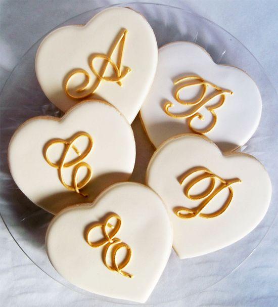 Monogrammed Heart Cookies