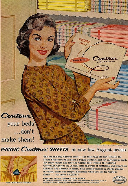 Don't just make your beds, contour them! #vintage #1950s #ad #homemaker #housewife #linens #sheets