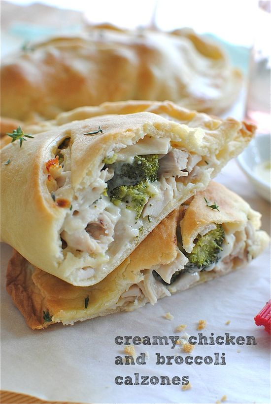 creamy chicken and broccoli calzones