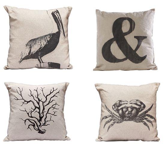 Beach Inspired Canvas Pillows  perfect for summer   via Modern Palm Boutique