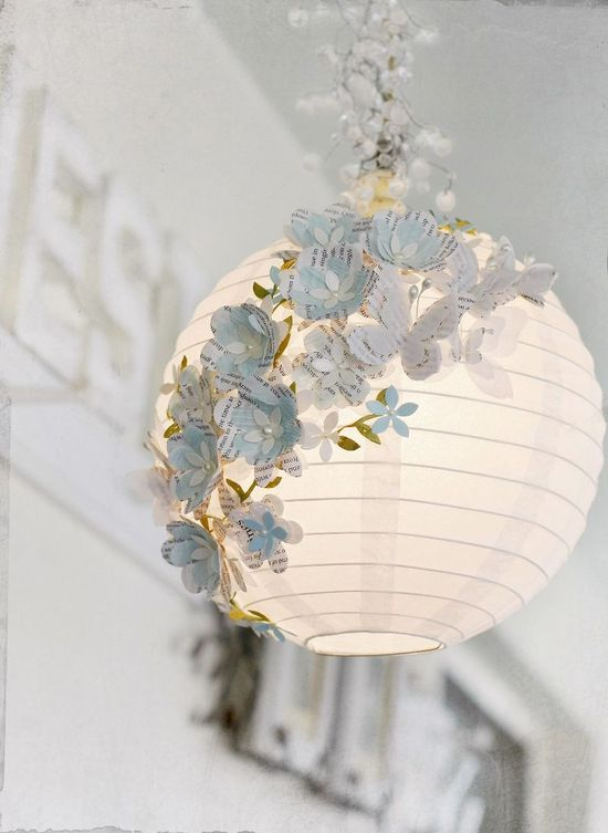 decorated shade [I repinned this from DIY & crafts so I hope it's DIY because I really must do this for my bedroom! You can do it too - I'm sure I've seen floristry taping pinned on Pinterest. And you can use silk flowers - easy, I promise you. ;) Mo]