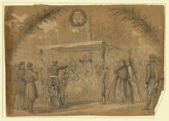 Wedding in the army of the potomac illustration on tan paper with