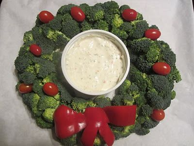 broccoli wreath - for Christmas party