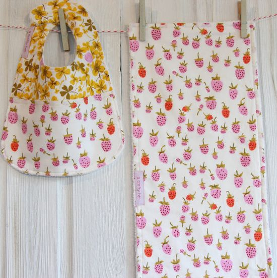 Baby Girls Bib and Burp Cloth Set Strawberry by acraftyhen