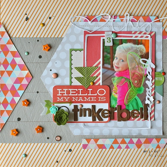 #papercraft #scrapbook #layout  Table Scraps: Hello My Name Is Tinkerbell