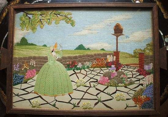 Embroidered Crinoline Lady tray