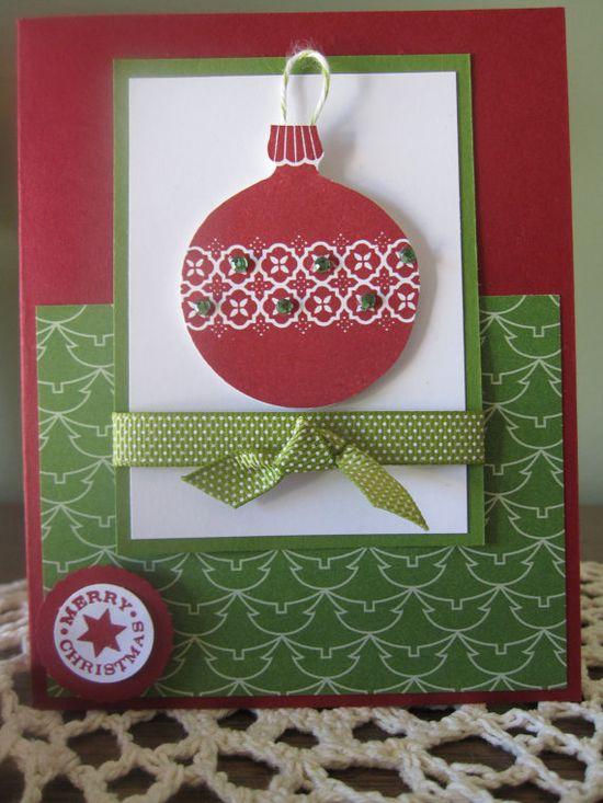 """Stampin' Up Handmade Greeting Card: Christmas/Holiday """"Ornament Keepsakes"""""""