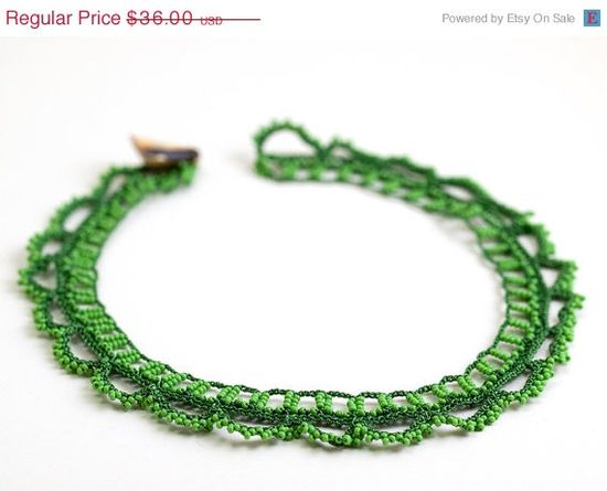 SALE Green Crochet Lace Statement Necklace Choker by PinaraDesign, $27.00