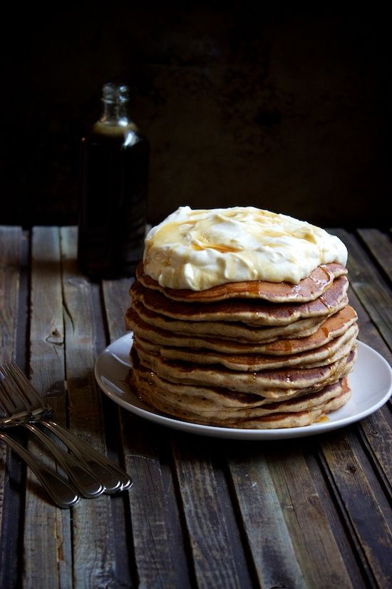 Carrot Cake Pancake Stack with Whipped Cream Cheese Topping