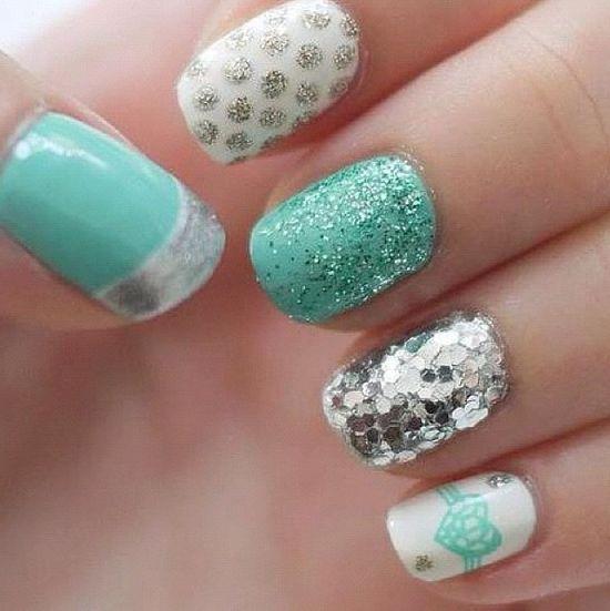 Turquoise & sparkle nails