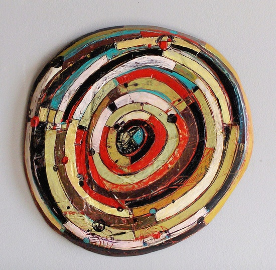 Layered disc 2010  Acrylic, enamel, ink, carving on shaped wood panel.  13 inches diameter  by Barbara Gilhooly
