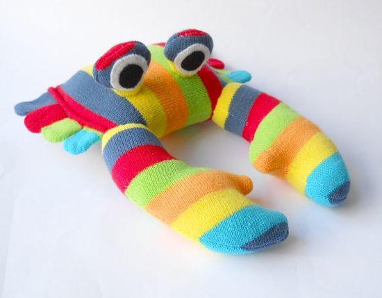 sock animal toy stuffed animal rainbow crab by TreacherCreatures, $24.00
