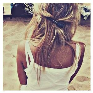 Messy hair .