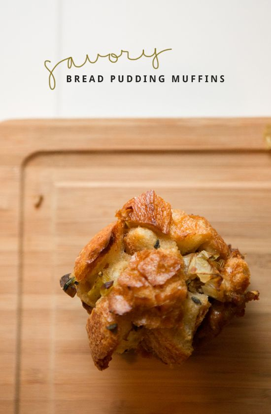 Wild Mushroom + Leek + Sausage Savory Bread Pudding Muffins