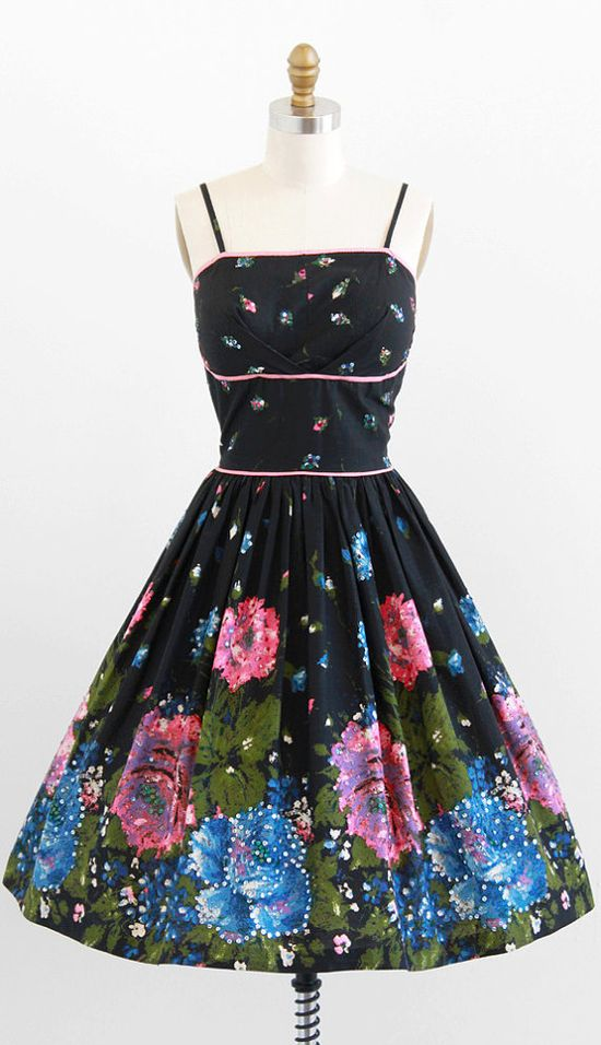 vintage 1950s painted roses + sequins party dress