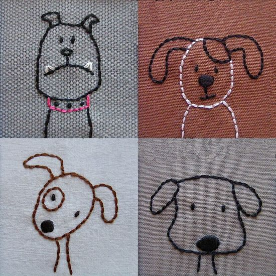 Dogs embroidery pattern PDF