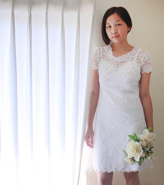 Lace Garden Wedding Gown Reception Dress, $195.00