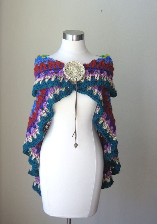 CAPE SHAWL WRAP Crochet  Multicolor Boho Hippie by marianavail, $85.00