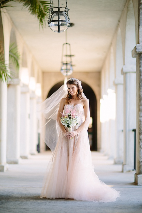 Monique Lhuillier pink wedding dress. So pretty!