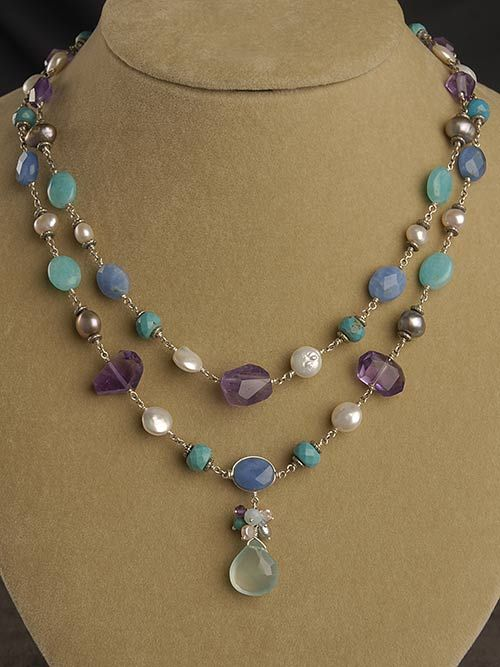 Blue and Purple Double Stranded Gemstone Necklace
