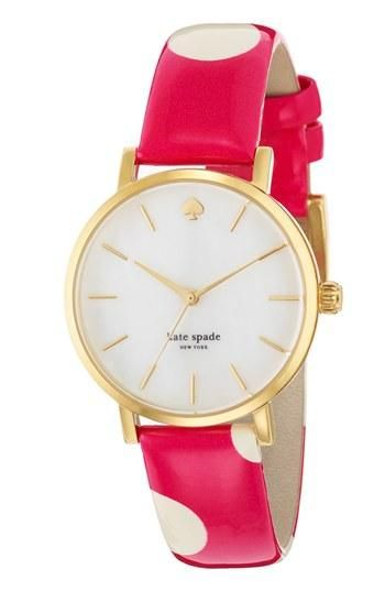 kate spade new york polka dot strap watch!