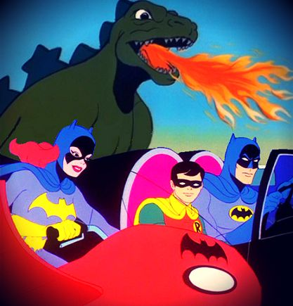 Hanna-Barbera's #BatmanVsGodzilla. Once Batman had Godzilla as backup, the villains of Gotham were, literally, toast.