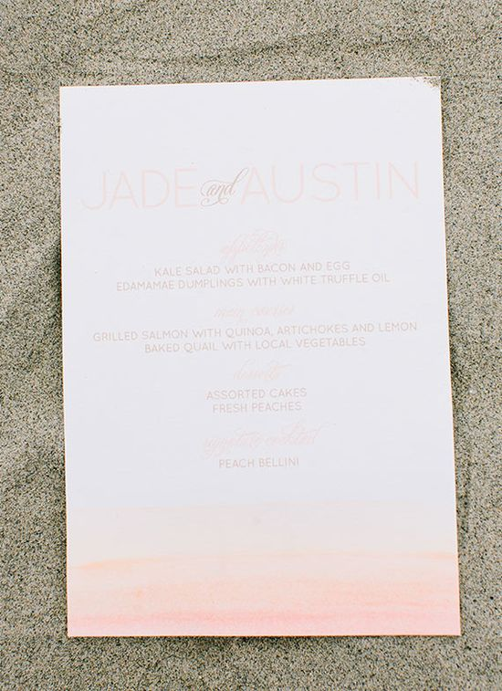 pink ombre wedding invitation