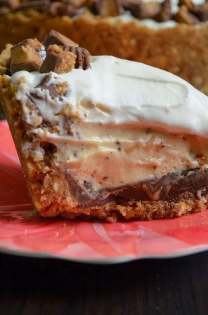 Deep Dish Peanut Butter Pie w/ a Chocolate Covered Pretzel Crust. Holy cow!