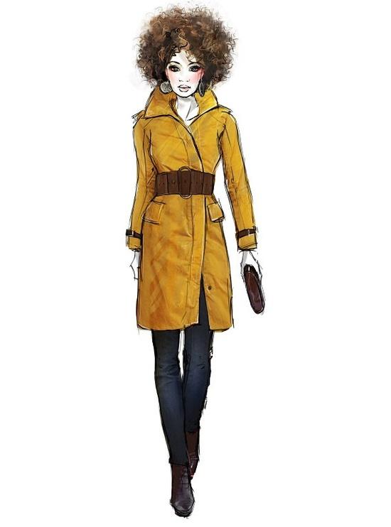 fashion illustration art print, mustard trench coat