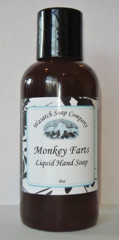 Monkey Farts Handmade Liquid Soap  All Natural by WasatchSoapCo, #handmade longboard #handmade ice cream #handmade journal #handmade birthday card #homemade cards