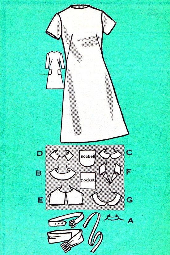 1970s Dress Pattern Anne Adams 4598 Mod A Line by paneenjerez, $10.00