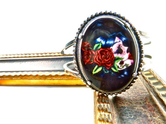 Vintage Bangle w/ handmade tattoo style Lolita Porcelain Cameo Cabochon by DeadlyRomanticGir... #dayofthedead
