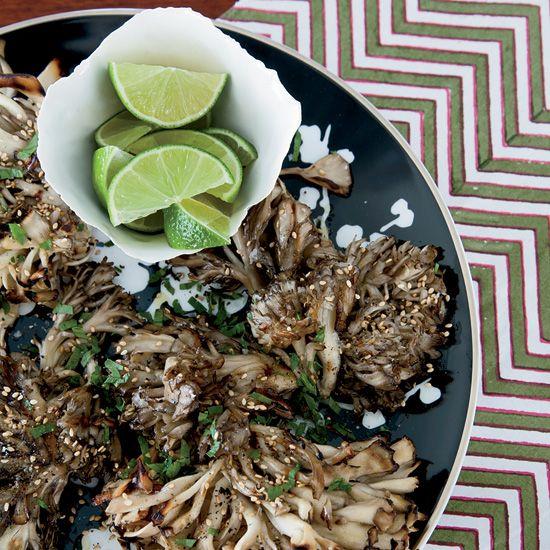 Grilled Hen-of-the-Woods Mushrooms with Sesame // More Great Mushroom Recipes: www.foodandwine.c... #foodandwine