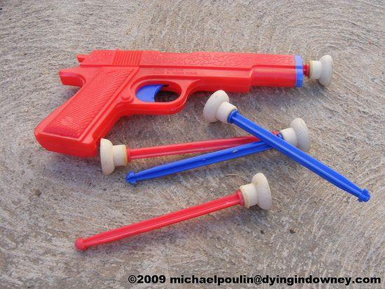 Plastic dart gun.  No better way to injure your friends' eyes.