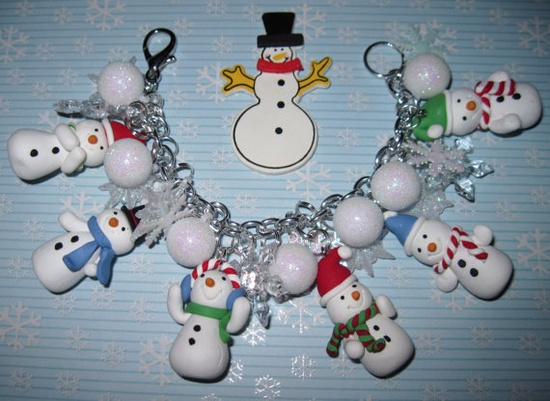 Snowman Charm Bracelet Winter Snow Snowflake Christmas by Jynxx, $32.00