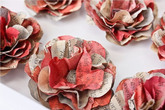 handmade paper flowers with vintage paper