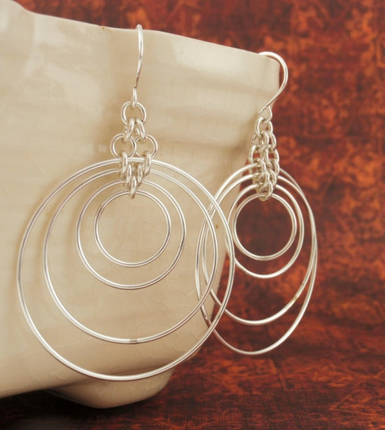 FOUR Silver Filled Hoops Earrings - Chainmaille. $95.00, via Etsy......like subtle shifting mobiles for your ears!