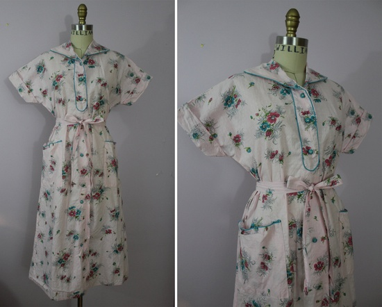 1940s Pink House Dress / 40s Floral Day Dress