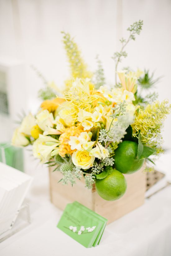 green & yellow flowers by blossom & branch