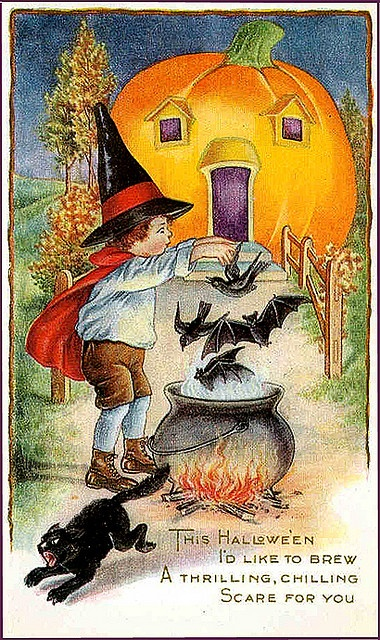 Vintage Halloween Postcard - Pumpkin House